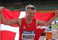 Daniel Wagner fejrer guldet på 100 m ved EM i para-atletik. Foto: Karl Nilsson